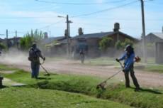 Los trabajadores municipales encargados de poner en condiciones distintos puntos de la ciudad.